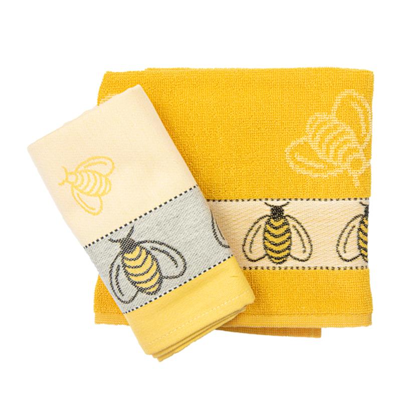 Theedoek-handdoek-geel-bijen-hoekje-giessenburg-graanbuurt