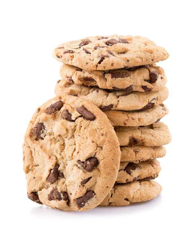 41924266 - chocolate chip cookies isolated on white background.